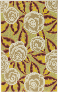 Large-scale stylized floral design. White flowers with brightly colored red and yellow leaves. Printed on tan rough-plaster embossed paper.