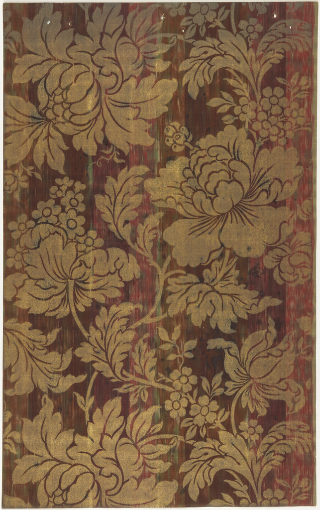 Gold floral design on striped ground.