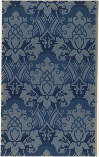 Blue floral medallions on blue oatmeal paper