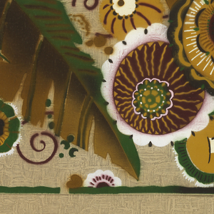 Exotic flowers printed on tan paper embossed with rough plaster texture.