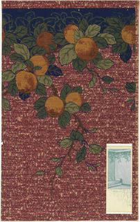 Simulated nubby textile with printed fruit frieze