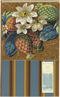 Blue, tan and black stripe on brown ground. Contains applied room illustration.