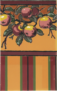 Fruit on orange background. Printed on ungrounded paper.
