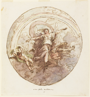 Iris flies with arms extended below a rainbow and above a thunderstorm. Beside her at left flies a putto with leaves in his hands, at right, two wind deities blow clouds.