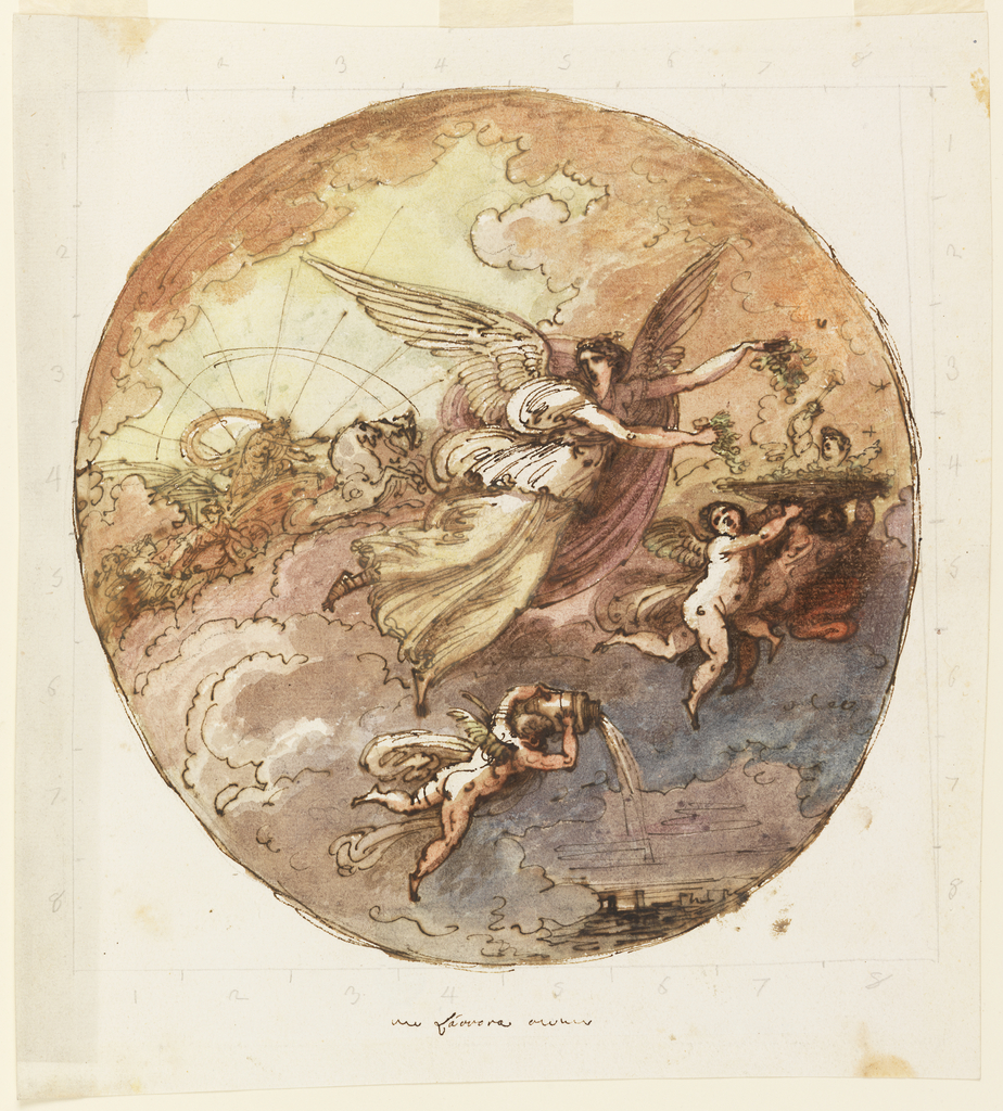 Circular composition.  Aurora flies toward right holding leaves above a basket which is carried by putti. One putto below pours water from a jar.  In the left background is Apollo rising in a chariot.  Framed by a square in graphite, the lines being divided into eight parts.