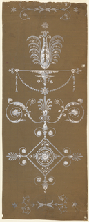 Vertical composition framed at upper and lower margins by horizontal plant motif set between two stars which frames the larger design to be repeated. The design consists of three parts: at bottom, a decorated lozenge with two kinds of palmettes; center, a palmette with rinceau calyx; above, a pole suspended with a bead festoon from which rises a fantastic blossom, all squared in graphite.