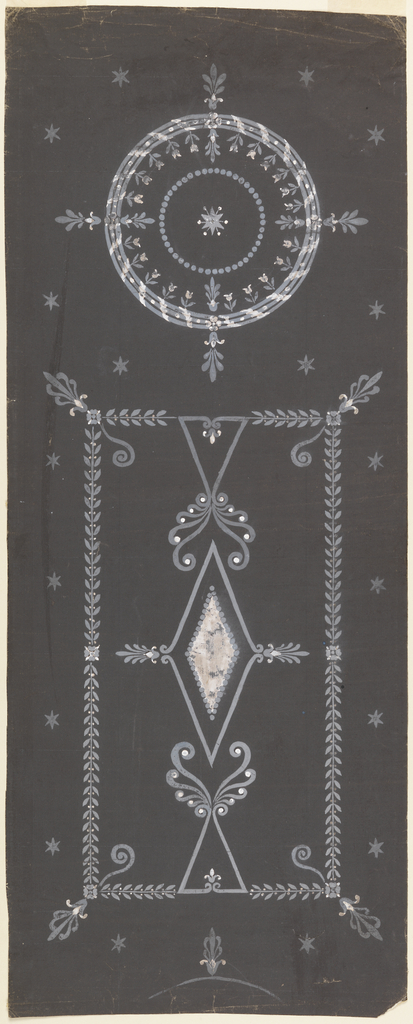 Vertical composition with two motifs rendered in white gouache--one circular and one rectangular--surrounded by stars.  The larger, rectangular motif consists of an oblong shape formed by boughs with a lozenge and palmettes inside.  The smaller, circular motif consists of an abstract wreath with small plants and blossoms on its inner perimeter with palmettes at each of the cardinal axes.