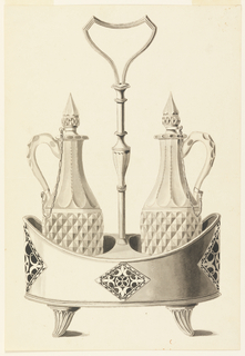 Two glass bottles with handles and chained stoppers stand in a tub-shaped stand with fluted feet. The stand is decorated with cut out lozenge ornaments. The handle of the stand in middle with an upside down triangular-shaped handle, and fluted feet. The drawing has been folded.