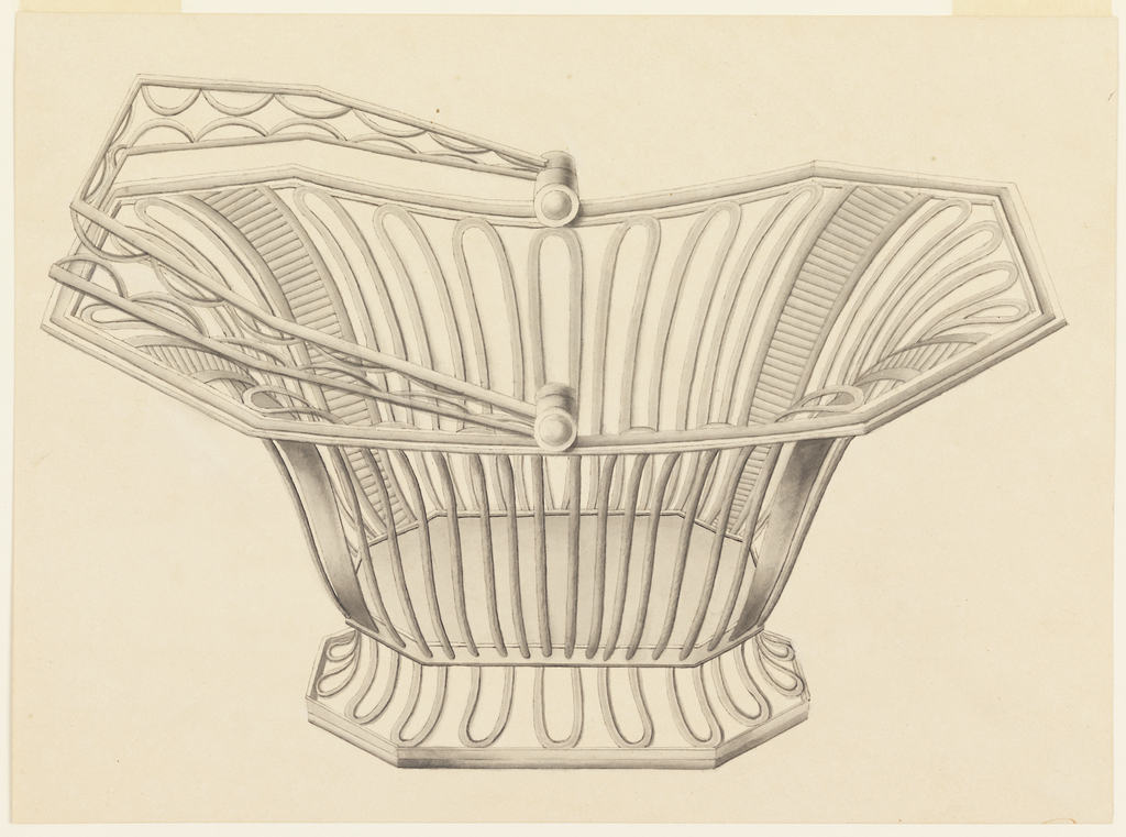 Openwork wire bread basket in center.  The basket as well as the base are octogonally shaped shaped.  The openwork handle of the basket is laid down on the left rim. Fragment of writing in red lower right.