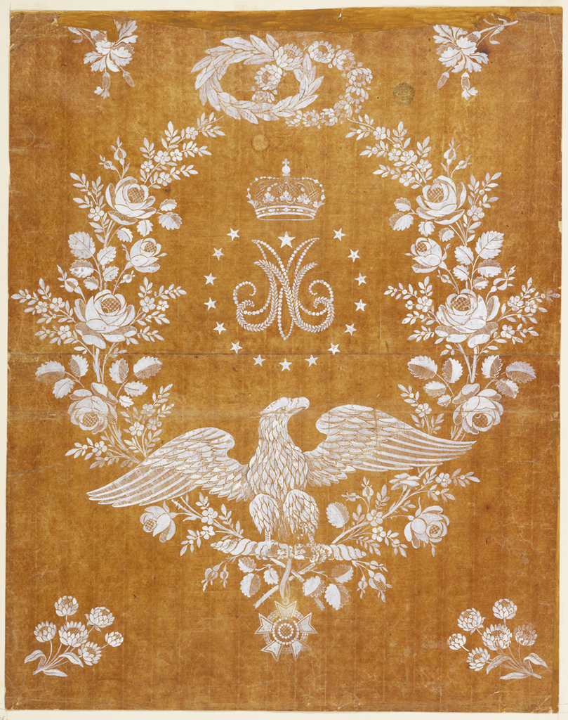 Center, beneath crown, are two initials- a superimposed N and M encircled by stars and a wreath of roses. Upper center, two entwined wreaths - one of laurel, and the other of a chrysanthemum-like flower. Upper corners, oak sprigs; lower corners, floral sprigs. Lower center, the Napoleonic eagle. The Legion of Honor medallion hangs below the eagle.