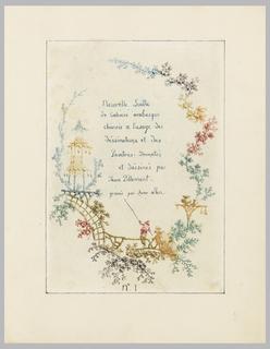 """Print, Title page, Plate 1 from """"Nouvelle suite de cahiers arabesques chinois a l'usage des dessinateurs et des peintres"""", No.1, Inventes et dessines par Jean Pillement. Graves par Anne Allen."""