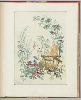 """Print, Ornamental Design from """"Nouvelle suite de cahiers arabesques chinois a l'usage des dessinateurs et des peintres"""", No.1, Inventes et dessines par Jean Pillement. Graves par Anne Allen."""