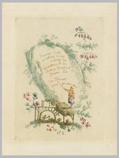 """Print, Title page, Plate 1,  from """"Nouvelle suite de cahiers chinois a l'usage des Dessinateurs et des peintres"""", No.2, Inventes et dessines par Jean Pillement. Graves par Anne Allen."""