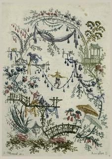 """Print, Ornamental Design from """"Nouvelle suite de cahiers chinois a l'usage des Dessinateurs et des peintres"""", No.2, Inventés et dessinés par Jean Pillement. Gravés par Anne Allen. """""""
