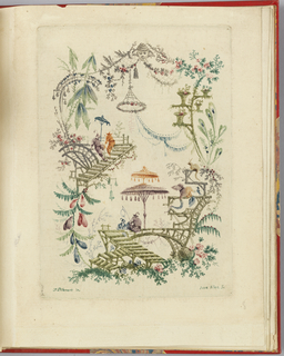 Irregular cartouche with figures fishing at center in an exotic landscape surrounded by flora and open air structures.