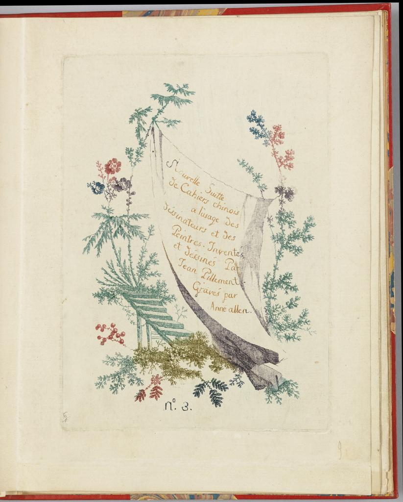"""Print, Title page, Plate 1 from """"Nouvelle suite de cahiers chinois a l'usage des dessinateurs et des peintres"""" No.3, Inventes et dessines par Jean Pillement. Graves par Anne Allen."""