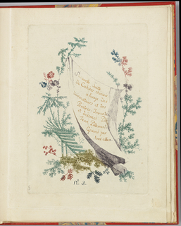 Irregular cartouche with title card on sheet surrouned by exotic flora.