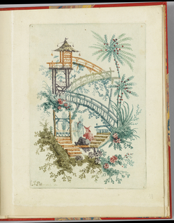 Fantasy three-level Chinoiserie bridge floating in empty space.  Chinois figure in pointed hat sits on steps in lower center, above him three bridges leading to arched doorways.  Architecture elements surrounded by foliage and trees.