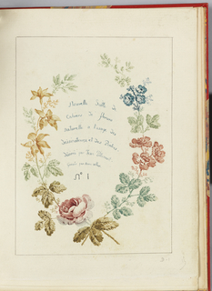 Title page with title surrounded by multi-colored flowers.