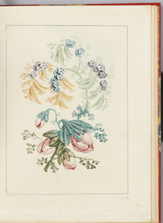 Print, Ornamental Design with Small Blue Flowers, from Nouvelle suite de cahiers de flerurs naturelle a l'usage des dessinateurs et des peintres, No.1