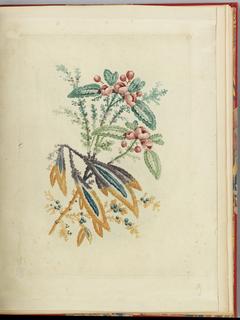 Print, Ornamental Design with Small Red Flowers and Berries, from Nouvelle suite de cahiers de flerurs naturelle a l'usage des dessinateurs et des peintres, No.1