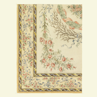Corner of border design flanked by two narrower borders decorated with string of pearls entwined with gold rinceau on brown background. Inside border consists of blue ribbons tied in bows interspersed with groupings of red blossoms on cream background. Interior section, partial design of bouquet of red roses, branch tied with blue ribbon, green wreathe with red ribbon, and grouping of flowers on cream background.