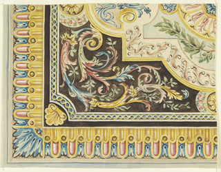 Corner of a design made up of several framed borders. Beginning with the exterior, pink petals superimposing gold petals, all bordered by gold, alternating with brownish-gold circles above which are blue plant forms. Horizontal and vertical borders meet at corner which is blue and white plant form. Interior section has a border of gold figure eights on blue ground. Inside this, multicolored rinceaux on brown ground, then gold framing in which there are various vegetal forms in blue, pink, green, and gold on cream ground.