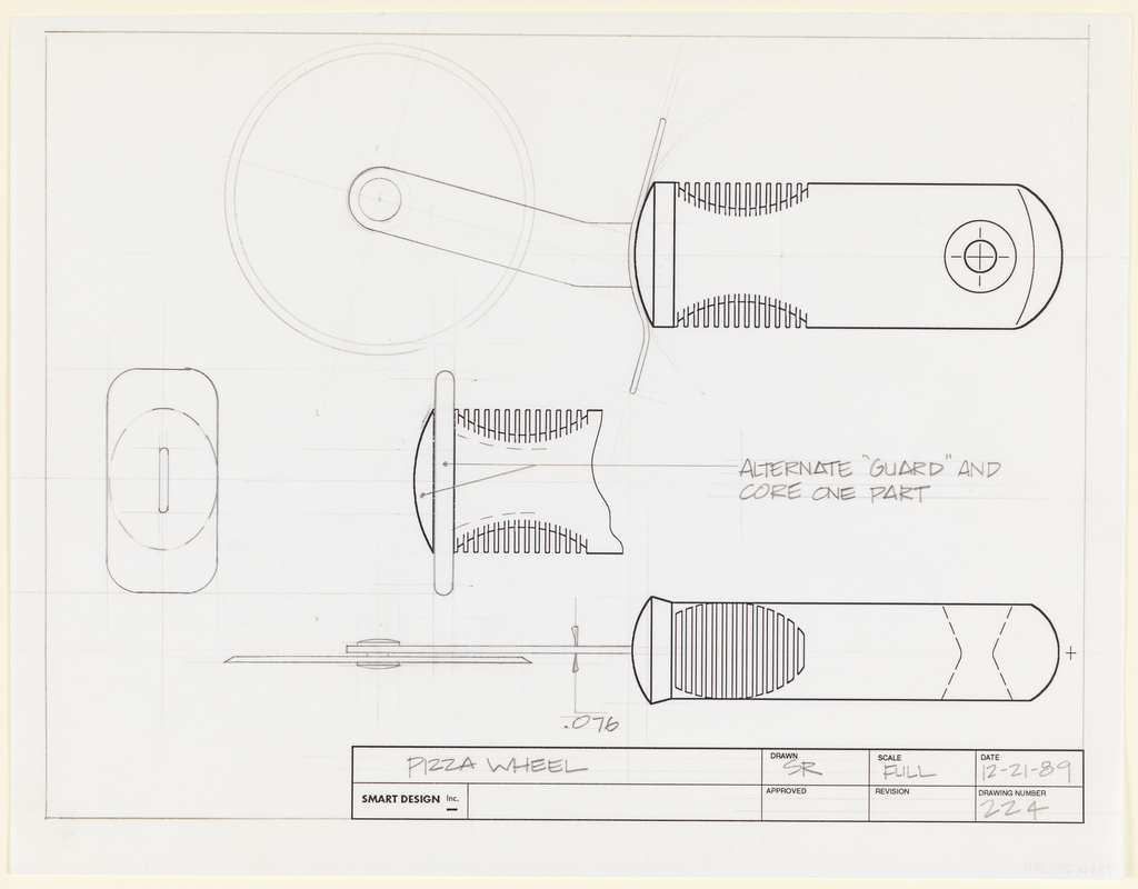 View of pizza cutter seen in full from side and above, with handle grip detail seen in cross-section.  In between alternate guard shown.  The drawing space is framed by a graphite ruled border on three sides, and contains a title block in the lower margin, right.