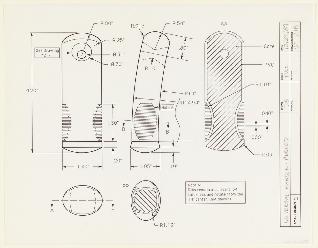 Multiple full views of a handle with a slightly curved end.  The handle is seen from both sides in elevation with a cross-section through at right.  Below are two views of the same handle seen in cross-section through the handle's shaft.  Materials and dimensions are specified throughout.  The drawing space is not ruled and is framed at right by a title block that is perpendicular to the drawing.