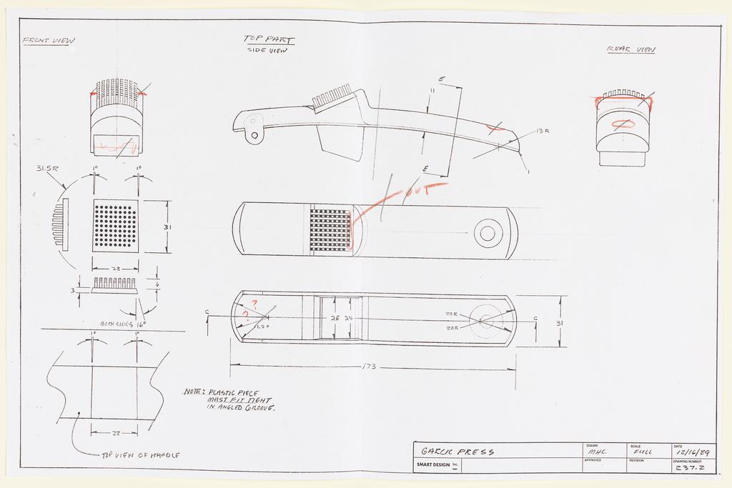 Drawing, Design for Garlic Press