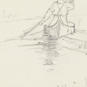 Two sketches of man paddling canoe.