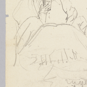 Recto: Woman drinking surrounded by seven bottles of wine; verso: supply list.