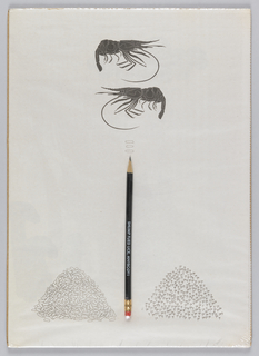 Lower center, pencil between two small mounds. Upper center, two large insect-like creatures.