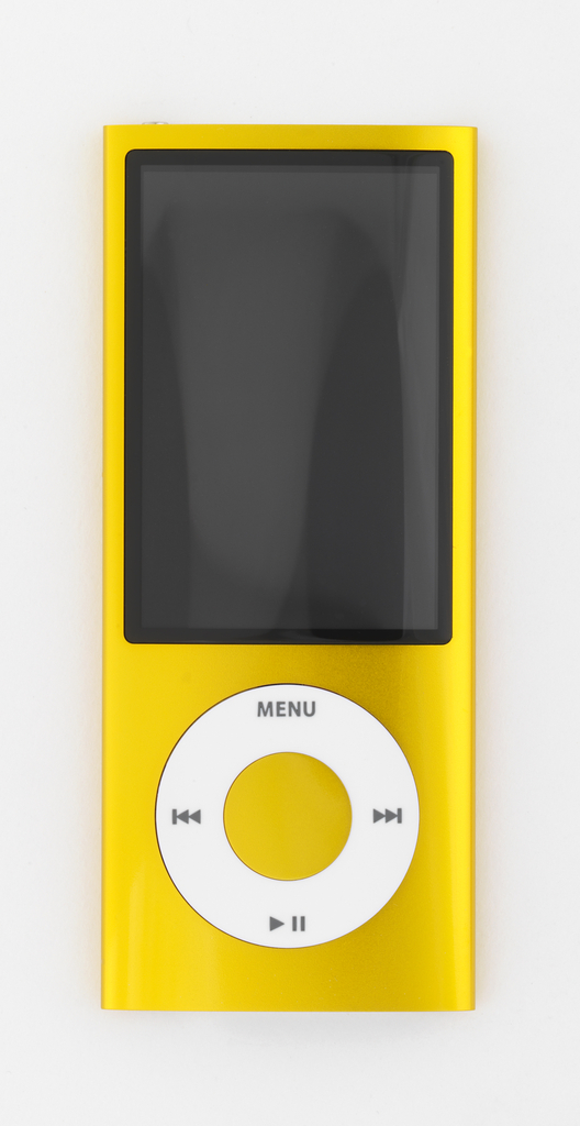 Vertical rectangular form of yellow aluminum with large rectangular screen above circular white click wheel with control symbols.