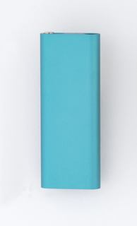 Blue aluminum rectangular form.