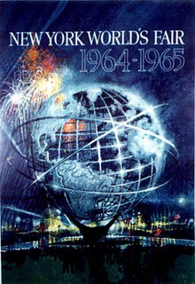 Blue poster with globe promoting the New York World's Fair 1965-65.