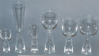 Clear glass with inverted tapered stem with horizontal ridged design.   Cordial