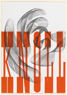 KNOLL written at bottom in red, elongated, serif font. Behind text grey lines form a curving shape, visible through the red text.