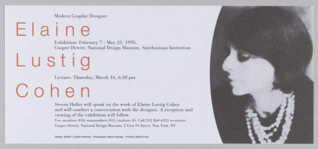 Exhibition flyer divided into two vertical registers by a curved line rounded to the left. Right side: black and white photographic image of a woman in profile facing left. Left side: seven sections of text with small black text at top oriented towards center of page interspersed with large red text underneath black text oriented to left of page.