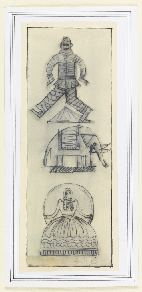 Vertical rectangle. Three figures sketched in outline: a clown with hands and legs splayed on top; elephant with umbrella, in middle; ballerina in dress before large circular frame, at bottom.  Sheet is mounted to paper with two framing lines around edges.
