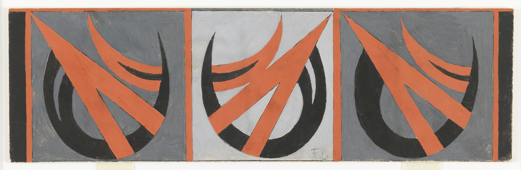 "Horizontal rectangle. Design in three roughly square segments, divided by orange-red vertical stripe.  In each segment, on dark or light gray ground, an abstract design comprising a black crescent shape with inverted orange-red ""V"" and an orange-red half-crescent with black center."