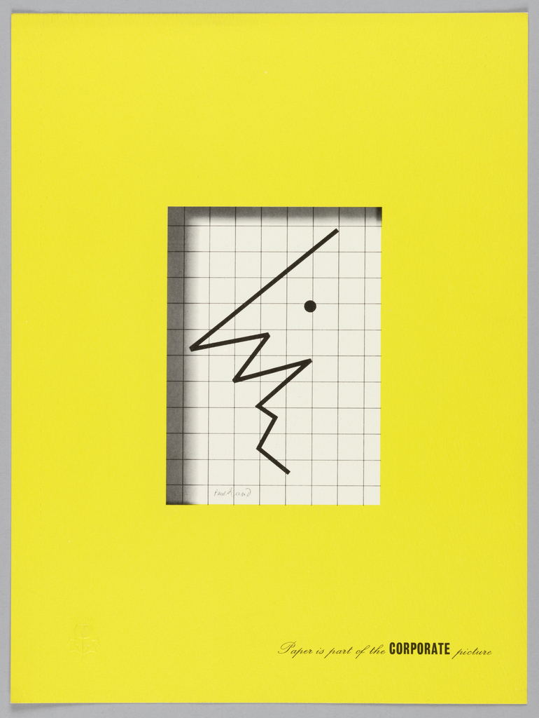 Double sided promotional sheet for the Strathmore paper company.  Recto: a vertical rectangle in white with a grid pattern resembling graph paper, on which is printed a zigzag black line and dot to resemble a smiling face in profile. A printed shadow lines the upper and left edges of the rectangle, to convey that it is set behind the wide chartreuse frame.  Inscribed in black, lower right: Paper is part of the CORPORATE picture. Verso: a chartreuse rectangle casts a gray shadow along right and lower edges. Two text blocks in black promote the Strathmore paper company and its products.  Company name and location lower center.