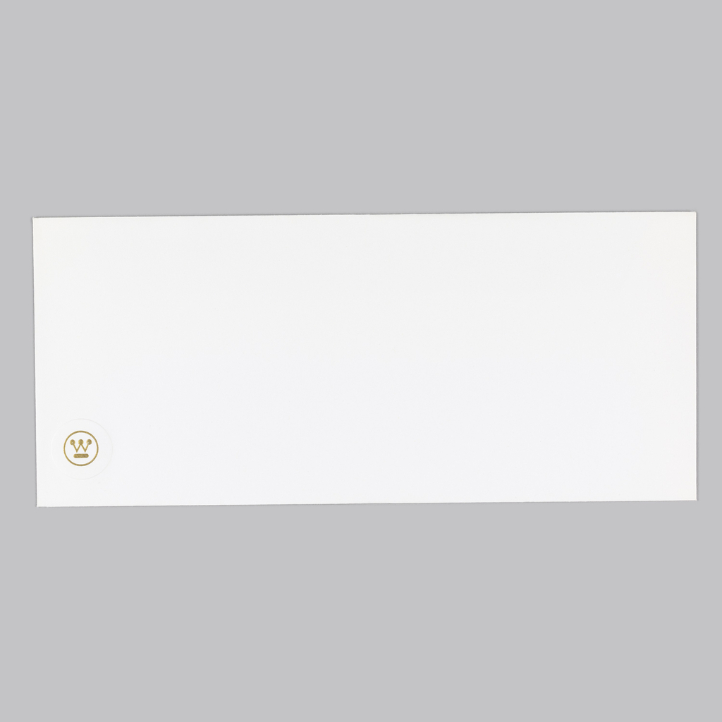 Cream business envelope. Recto: Embossed in gold, lower left corner, Westinghouse logo.; logo inside raised circle. Verso: imprinted in black, upper center-right, two text blocks Westinghouse's full name and address.  Indentation of embossed logo, lower right corner.