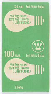 Flat product wrapper, imprinted in green with product title, wattage, price, number of product in package, and Westinghouse logo imprinted in white. 4 light bulbs, imprinted in white, number of hours imprinted on them in green.