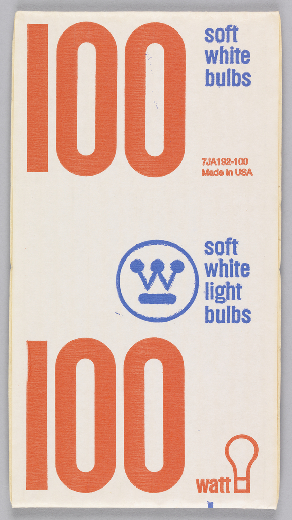 On white paper, recto and verso imprinted in red ink and a very large font in the lower left quadrant:100. Imprinted in blue ink upper right corner: soft/white/bulbs. In red and blue with wattage, image of light bulb, and Westinghouse logo.