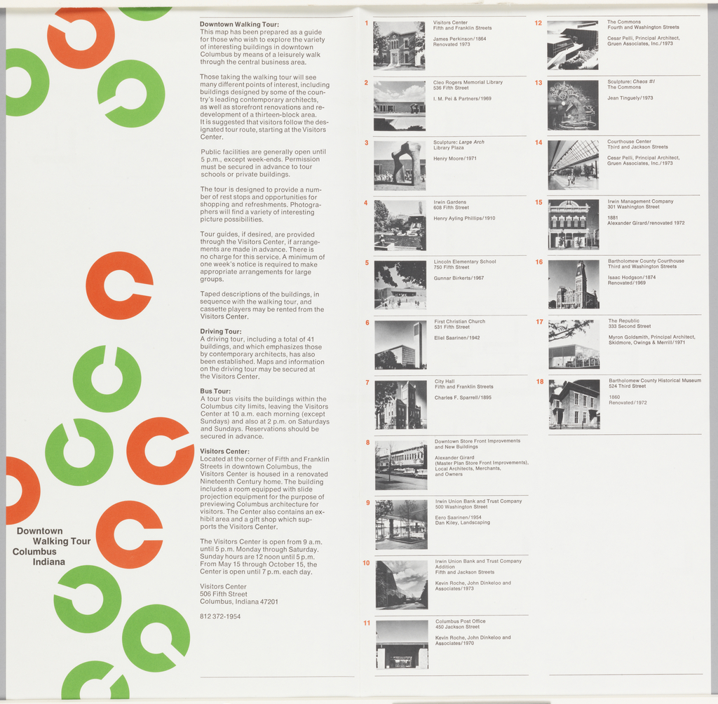 "A folded four-page sheet that opens backwards.  Rand's  ""C"" (shaped like a circle) logo in red and green runs haphazardly down the left side of the brochure cover. On right side, a series of text blocks in black with statement of instructions for walking, driving, bus tour; location, hours, and phone number of the Visitors Center.  On back, a list of eighteen numbered architectural sites, with black and white thumbnail photographs, architects names, and dates for each building.  Inside, a two-page street map in beige and white with diagrams (in plan) in white and black of relevant buildings, identified by number.  The suggested tour is indicated in red."