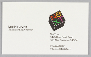 Business card for NeXt, Inc., employee Leo Hourvitz, software engineer.  In upper right quadrant; NeXT logo in shape of cube with firm name, below which is name and address of company and contact numbers.