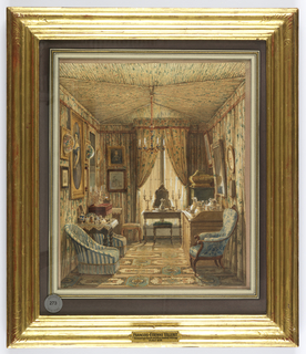 Drawing, Interior of a Dressing Room with Tented Ceiling, 1848