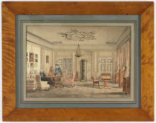 Drawing, Interior in the House of Lord Chamberlain O'Neill, Strandraede, Copenhagen