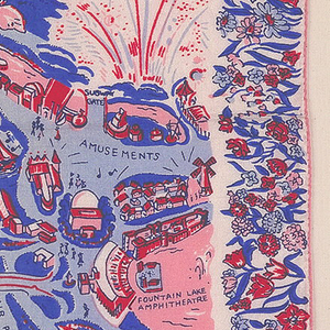White silk handkerchief with a map of the 1939 New York World's Fair surrounded by a floral border. Printed in pink, red, light and dark blue.